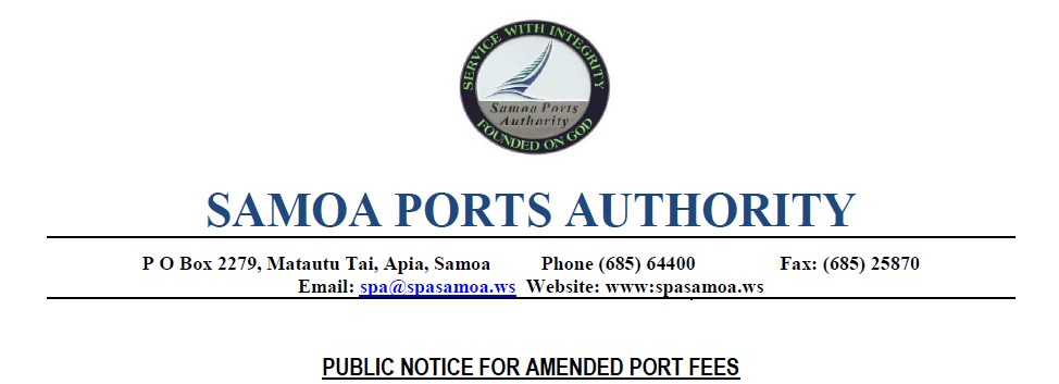 Samoa Ports Authority - COvid19 Fees